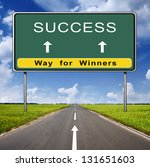success road sign on blue sky... | Shutterstock . vector #131651603