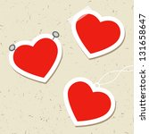 set of heart tags with pins ... | Shutterstock .eps vector #131658647