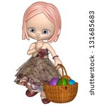 cute little toon girl with a... | Shutterstock . vector #131685683
