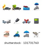 Car insurance icons in colors. - stock vector