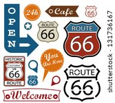 route 66 signs. symbol and... | Shutterstock .eps vector #131736167