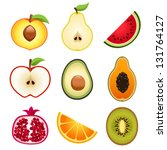 halve fruits icons | Shutterstock .eps vector #131764127