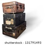 Antique steamer trunk. - stock photo
