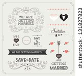 Set of wedding ornaments and decorative elements, vintage banner, ribbon, labels, frames, badge, stickers. Vector love element. | Shutterstock vector #131827823