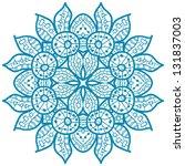 oriental blue mandala motif... | Shutterstock . vector #131837003
