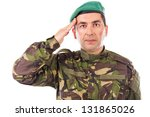 Young army soldier saluting isolated on white background - stock photo