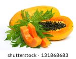 ripe papaya with seeds and... | Shutterstock . vector #131868683