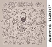 cartoon tattoo vector set. cute ... | Shutterstock .eps vector #131869697