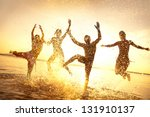 group of happy young people... | Shutterstock . vector #131910137