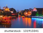 In the evening on river cruise ships in the night in Nanjing 	 confucius temple,China - stock photo