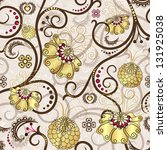 Easter seamless pattern with brown curls and gold flowers - stock photo