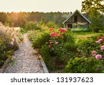 road in the beautiful garden - stock photo