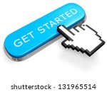 Networking concept. Blue GET STARTED button with hand cursor isolated on white. 3d illustration. - stock photo