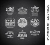 Set of retro bakery labels, ribbons and cards for vintage design, Chalk typography design on blackboard | Shutterstock vector #131978603