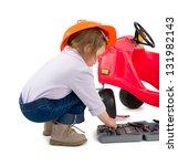 one small little girl wearing... | Shutterstock . vector #131982143