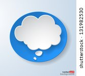 Abstract paper speech bubble on light blue background. Raster copy of vector illustration - stock photo
