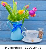 Bouquet Of Colorful Tulips In ...
