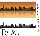 tel aviv skyline in orange... | Shutterstock .eps vector #132016823