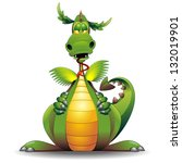Dragon Funny Cartoon Character - stock photo