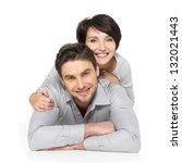 portrait of happy couple... | Shutterstock . vector #132021443