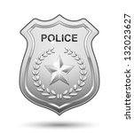 police badge isolated on white... | Shutterstock . vector #132023627