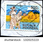 indonesia   circa 1986  a stamp ... | Shutterstock . vector #132025223
