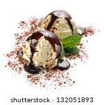 Ice cream with tiramisu flavor - stock photo