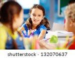 portrait of a lovely girl... | Shutterstock . vector #132070637