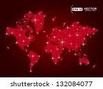red world map in points with...