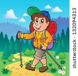 image with hiking theme 1  ... | Shutterstock .eps vector #132094313