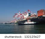 china qingdao port container... | Shutterstock . vector #132125627