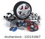 many auto parts  done in 3d  | Shutterstock . vector #132131867