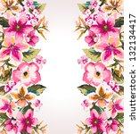 tropical summer flower mirror... | Shutterstock . vector #132134417