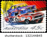 AUSTRALIA - CIRCA 2002: A Stamp printed in AUSTRALIA shows the Holden Torana and Ford Falcon, Hardie-Ferodo 500, Bathurst, (1972), series, circa 2002 - stock photo