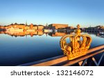 stockholm view with crown - stock photo