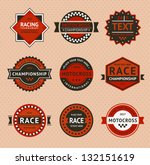 Racing badges - vintage style, vector illustration - stock vector
