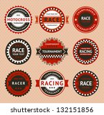 Racing insignia - vintage style, vector illustration - stock vector