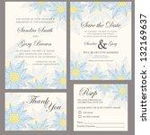 wedding invitation set  thank... | Shutterstock .eps vector #132169637