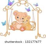 Cute Pair Of Bears On A Swing