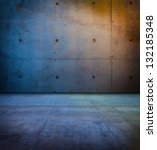 raw concrete space in sunset like ambient lighting. - stock photo