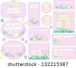 set of easter labels  tags with ... | Shutterstock .eps vector #132215387