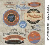 vector retro surf label set. | Shutterstock .eps vector #132256667