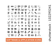 software & application icons set, vector - stock vector
