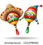 Maracas Cartoon Characters with Sombrero and Llucho - stock photo