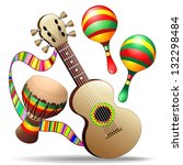 Guitar Maracas and Bongo Musical Instruments - stock photo