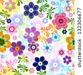 Spring colorful seamless floral pattern with transparent flowers (vector EPS 10) - stock vector