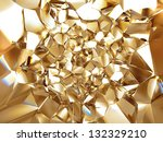 3d abstract crystal gold background texture - stock photo