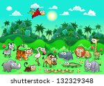 Jungle Animals. Funny cartoon and vector illustration. The sides repeat seamlessly for a possible, continuous animation. - stock vector