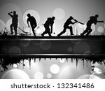 Silhouettes of a cricket batsman and bowlers in playing action on abstract background. - stock vector