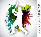 Cricket batsman in playing action on colorful grungy background. - stock vector